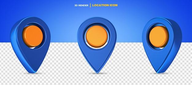3d rende l'icona della posizione blu e arancione isolata