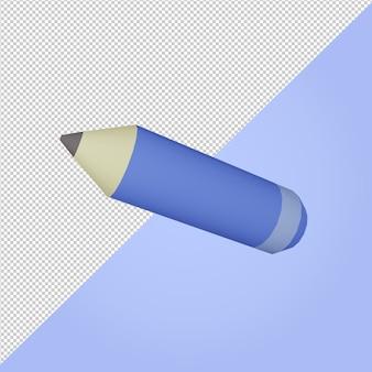3d rendono icona di istruzione matita blu