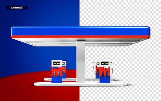 3d rendono la stazione di servizio blu e rossa isolted per la composizione
