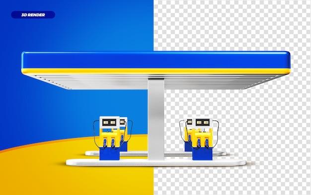 3d rendono la stazione di servizio blu e gialla isolted per la composizione