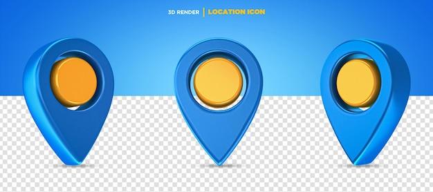 3d rendono l'icona della posizione blu e gialla isolata