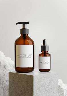 Rendering 3d del pacchetto di bottiglie con podio in cemento, pietra per la visualizzazione del prodotto