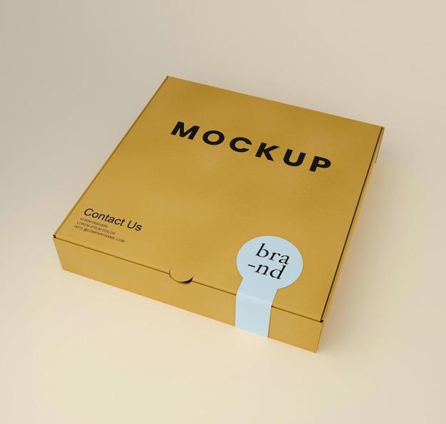 Modello di scatola di rendering 3d con adesivo