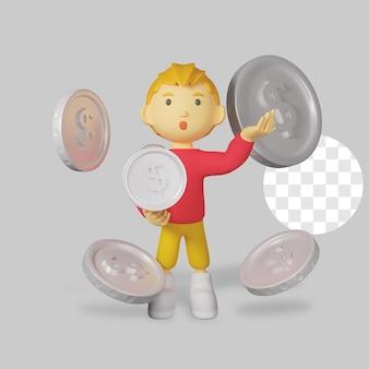 Rendering 3d personaggio ragazzo con moneta d'argento
