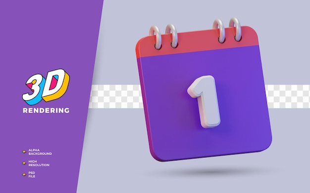 Calendario di rendering 3d di 1 giorno per promemoria o programma giornaliero