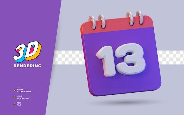 Calendario di rendering 3d di 13 giorni per promemoria o programma giornaliero