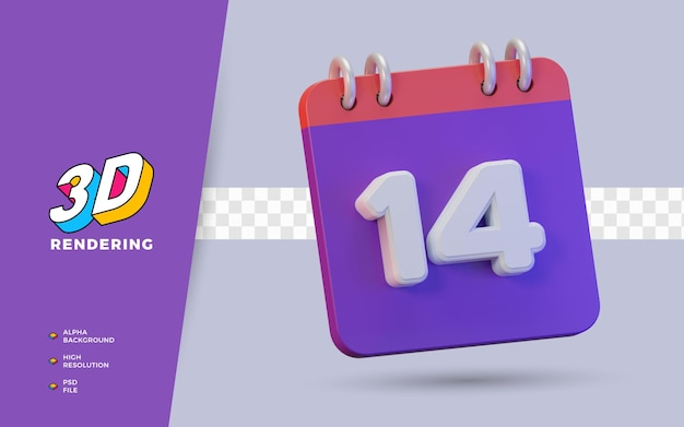 Calendario di rendering 3d di 14 giorni per promemoria o programma giornaliero