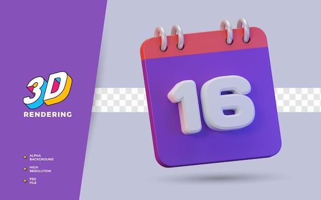 Calendario di rendering 3d di 16 giorni per promemoria o programma giornaliero