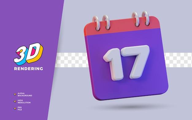 Calendario di rendering 3d di 17 giorni per promemoria o programma giornaliero