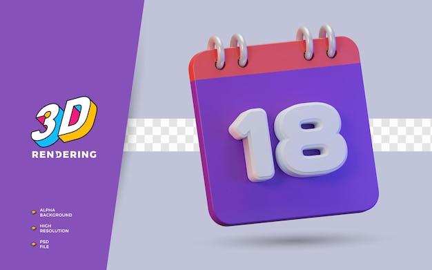 Calendario di rendering 3d di 18 giorni per promemoria o programma giornaliero