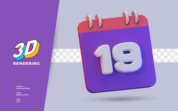 Calendario di rendering 3d di 19 giorni per promemoria o programma giornaliero