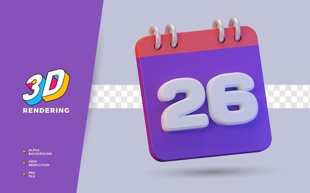 Calendario di rendering 3d di 26 giorni per promemoria o pianificazione giornalieri