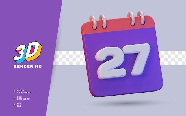 Calendario di rendering 3d di 27 giorni per promemoria o programma giornaliero