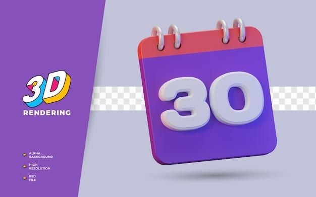 Calendario di rendering 3d di 30 giorni per promemoria o programma giornalieri