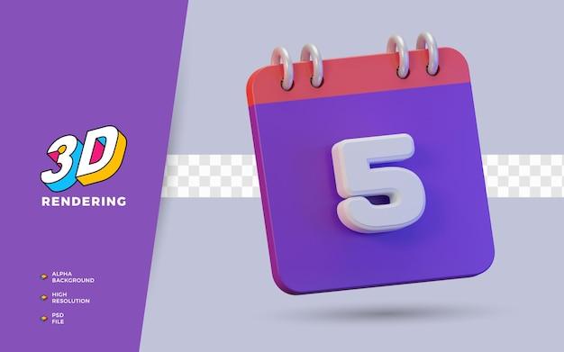 Calendario di rendering 3d di 5 giorni per promemoria o programma giornaliero