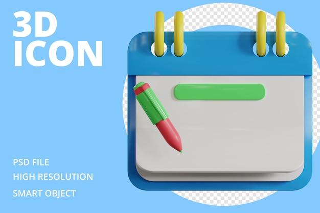 Icona di pianificazione del calendario di rendering 3d