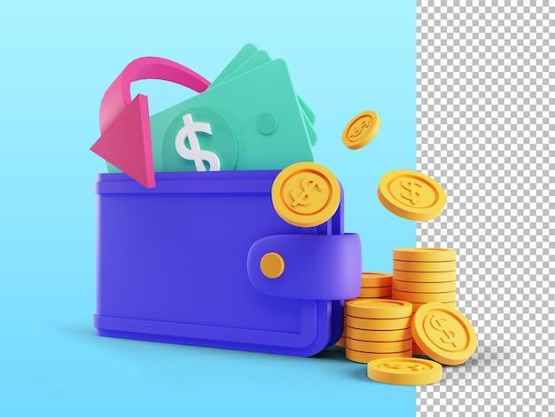 Rendering 3d del concetto di cash back persone che ottengono ricompense in denaro e regali dallo shopping online isolato
