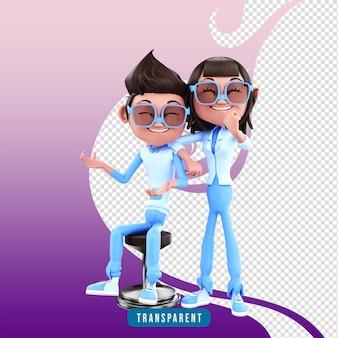 3d rendering coppia di personaggi posa aziendale