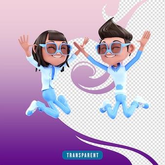 3d rendering coppia di personaggi che salta
