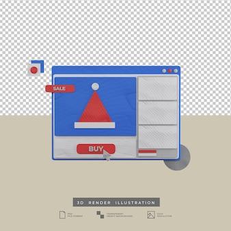 3d rendono la vista frontale dell'illustrazione di web design di natale