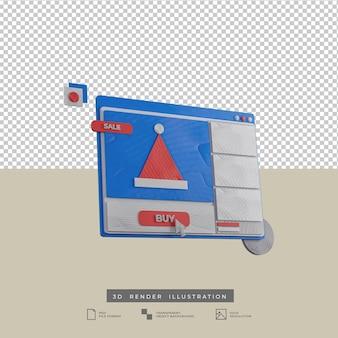 3d rendono la vista laterale dell'illustrazione di web design di natale