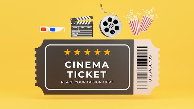 Rendering 3d di biglietto del cinema, popcorn, pellicola, batacchio, occhiali 3d