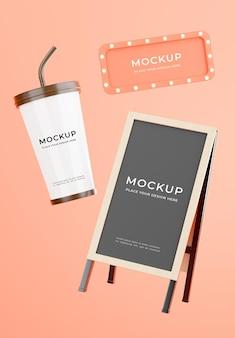 Rendering 3d del mockup della scheda del menu del caffè