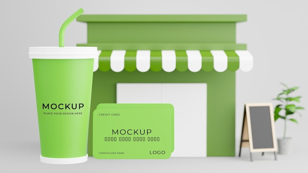 Rendering 3d della carta ceredit della tazza di caffè con il mockup del negozio di caffè