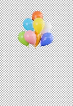 Rendering 3d di palloncini colorati su sfondo trasparente, tracciato di ritaglio