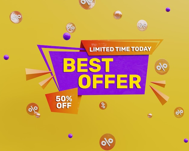 3d rendono il banner di promozione della migliore offerta colorato