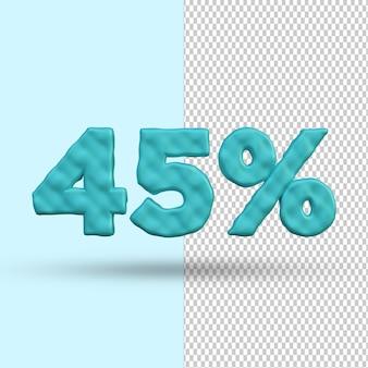 Concetto di rendering 3d 45 percento di sconto premium psd premium psd