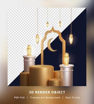 Rendering 3d lanterna di ramadan kareem di concetto con il podio
