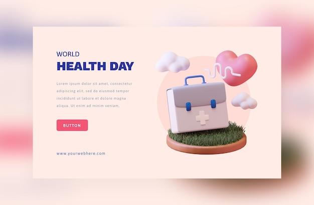 Concetto di rendering 3d della giornata mondiale della salute