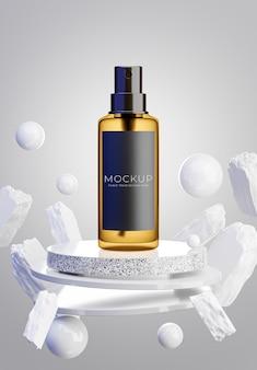 Rendering 3d di flacone per cosmetici con marmo podio galleggiante, pietra, per la visualizzazione del prodotto