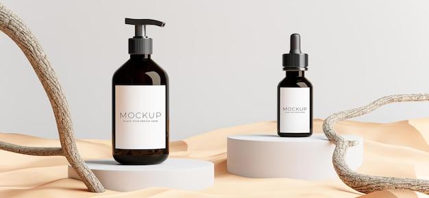 Rendering 3d di cosmetici con rami, sabbia per la visualizzazione del prodotto