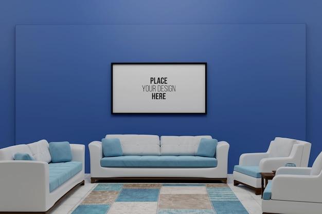 Mockup di cornice di design rendering 3d in soggiorno Psd Premium