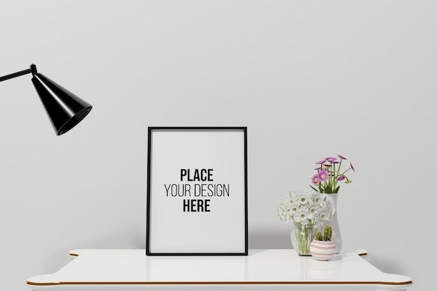 Mockup di cornice di design rendering 3d in soggiorno