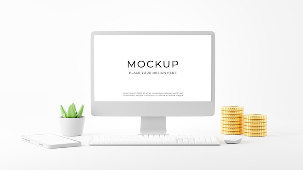 Rendering 3d di pc desktop con design mockup di forniture per ufficio