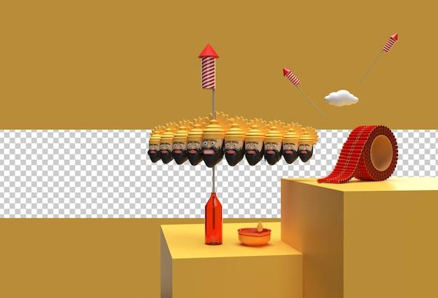 File psd trasparente di celebrazione di dussehra di rendering 3d.