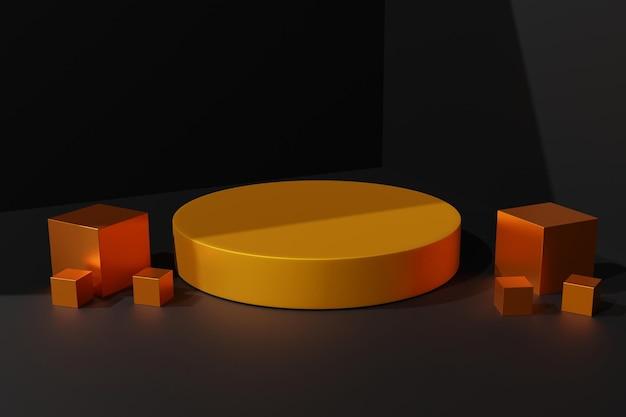 3d rendono lo sfondo elegante della scena del podio d'oro