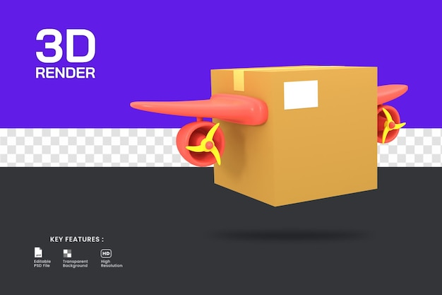 3d rendono l'icona del servizio di consegna espressa isolata. utile per l'e-commerce o l'illustrazione di un negozio online.