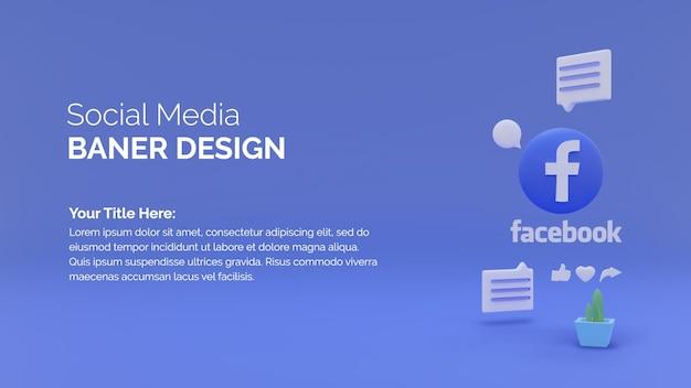 Rendering 3d del logo di facebook su sfondo blu