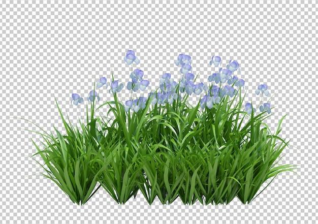 3d rendono di fiori con foglie