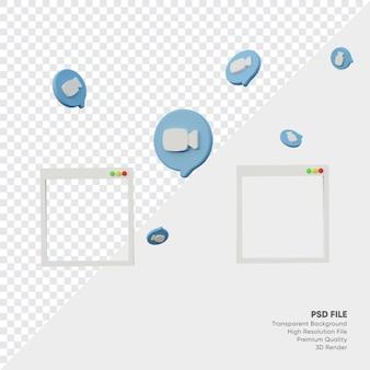 Cornice di rendering 3d per illustrazioni di videochiamate