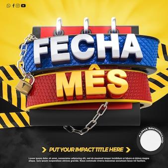 La parte anteriore del rendering 3d chiude i negozi di promozione del mese nella campagna generale in brasile