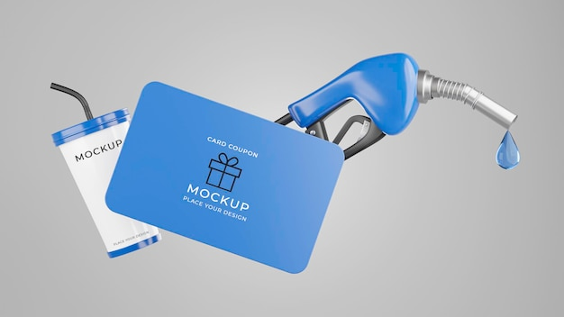 Rendering 3d dell'ugello del carburante con mockup di carta regalo