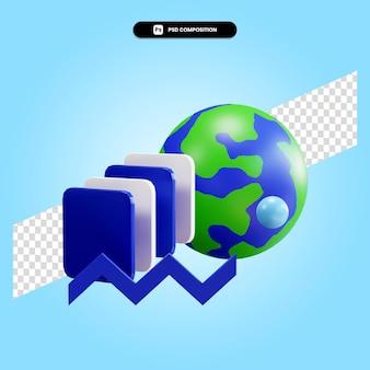 3d rendono l'illustrazione dell'elemento geometrico isolata