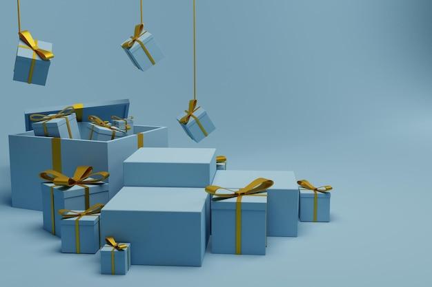 Confezione regalo rendering 3d con sfondo scena podio