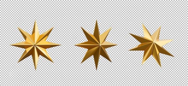 Rendering 3d di stella di natale d'oro su sfondo trasparente,percorso di ritaglio