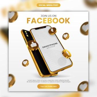 3d render icona facebook oro e smartphone social media e modello di post instagram